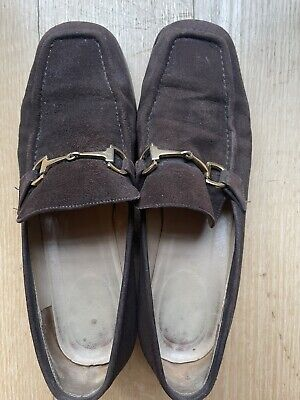 Vintage GUCCI Loafers Brown Suede Leather Gold Horsebit Size 8 1/2 B