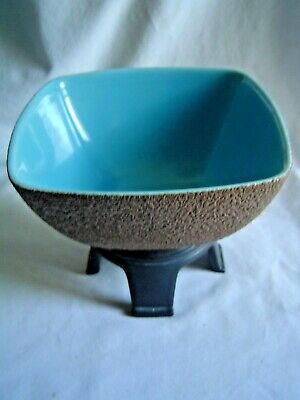 USA POTTERY FOOTED SQUARE PLANTER BOWL TEXTURED OUTSIDE ASIAN -