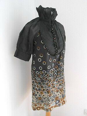 Hoss Intropia black metallic embroidered beaded smock dress 36 6 8 VGC