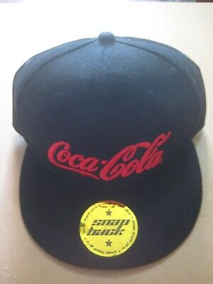 COCA-COLA snap back baseball cap + sticker BLACK / RED embroidered logo - NEW