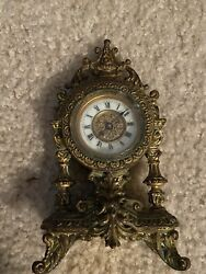 Antique Bronze French Style Sheld Mantle Clock, 6 Inches, Late 19th Century?