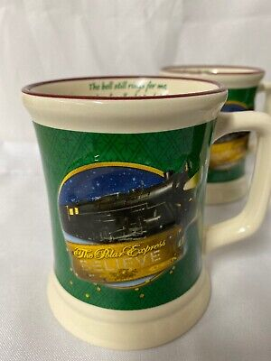 Set of 6 Polar Express Train Christmas Ceramic Mugs Hot Chocolate Believe Cups