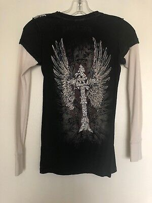 - Doctrine Womens Long Sleeve Thermal T Shirt Size XS Black Hearts Cross