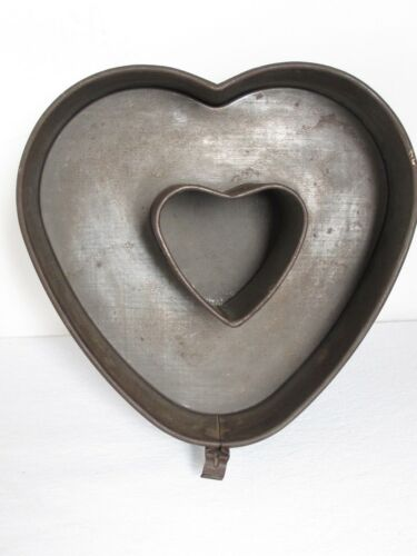 Antique Tin HEART Shaped Cake Mold 3 Part