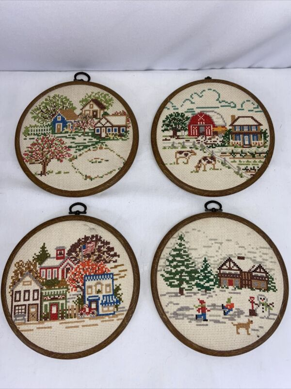 "Set Of 4 Cross Stitch 7"" Finished Framed Pictures All 4 Seasons Barn Country"