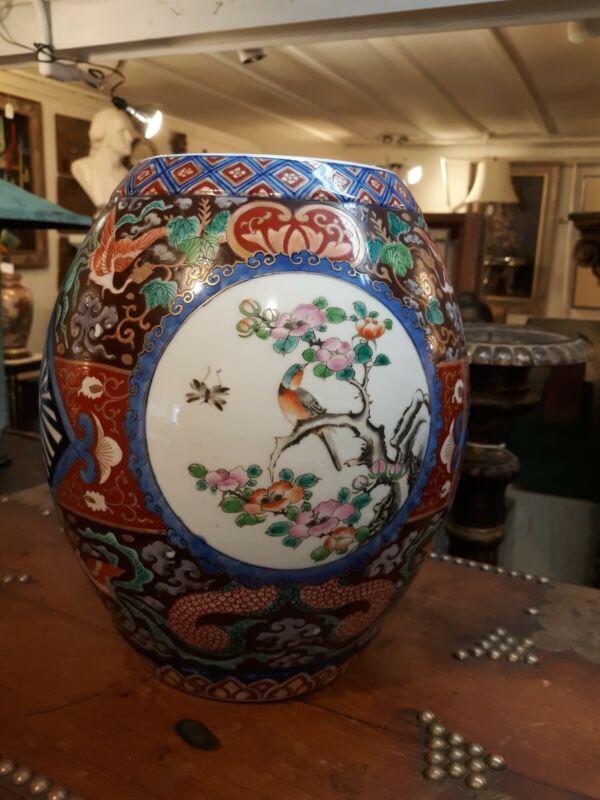 Rare Form Japanese Imari Porcelain Barrel Form Vase