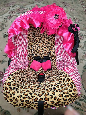 New adorable infant car seat canopy cover fit most seat leopard pint / hot pink on Rummage
