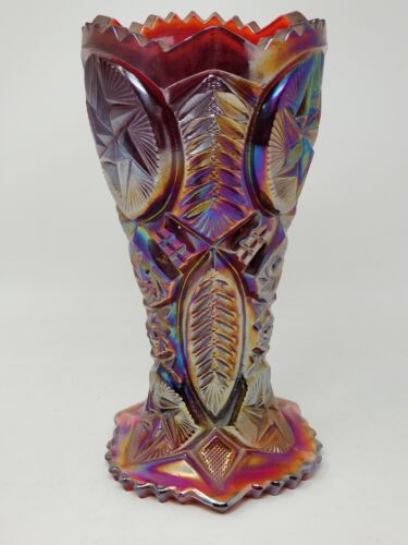 Vintage LE Smith Cut Carnival Glass Red Undertone Vase Star Pattern Marked
