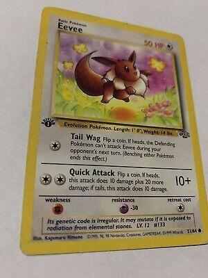 EEVEE 51/64 - 1st Edition Jungle Common Pokemon Card NM/LP WotC