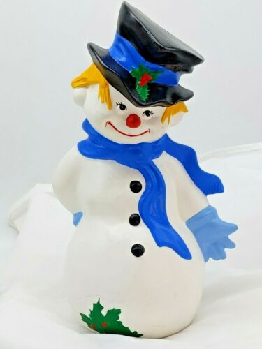 Byron Mold Frosty Snowman 1981 Vintage Ceramic 11 inch Figure Winter Christmas