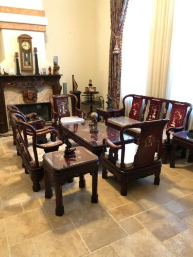 vintage Asian Mother of Pearl Inlaid ROSEWOOD  sofa  and Chairs