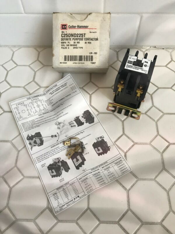 (1) Eaton Cutler-Hammer C25DND225T 2-pole Contactor 25 amp Series C1