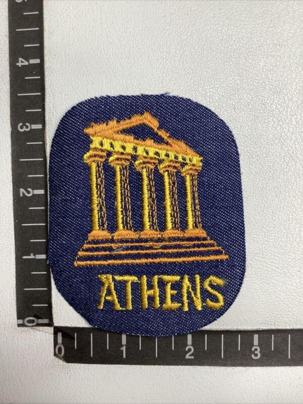 Vintage Travel Souvenir Patch Athens Greece Parthenon Column Yellow Letter 551