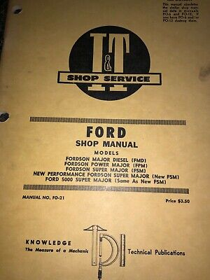 Ford Fordson Models Major Diesel Power Super Major Shop Manual