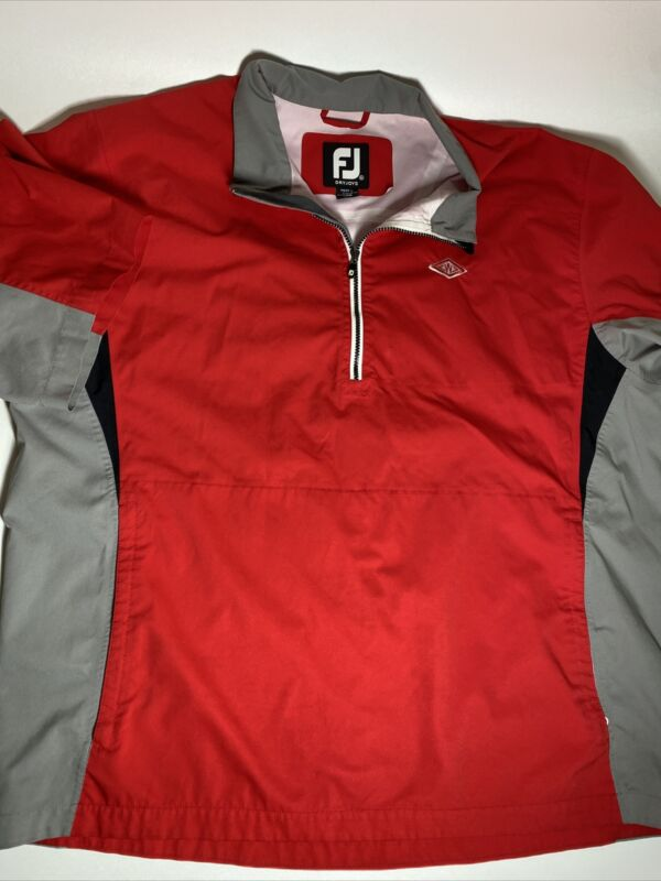 FootJoy Dryjoys Pullover Windbreaker Jacket Red Short Sleeve Size XL or XXL