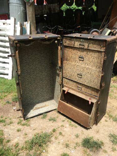VINTAGE Antique WARDROBE Steamer Trunk w/Drawers  ATLAS TRUNK
