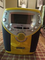 Philips CD Player AM FM Radio Alarm Clock AJ3957/17 Yellow Tested and Works