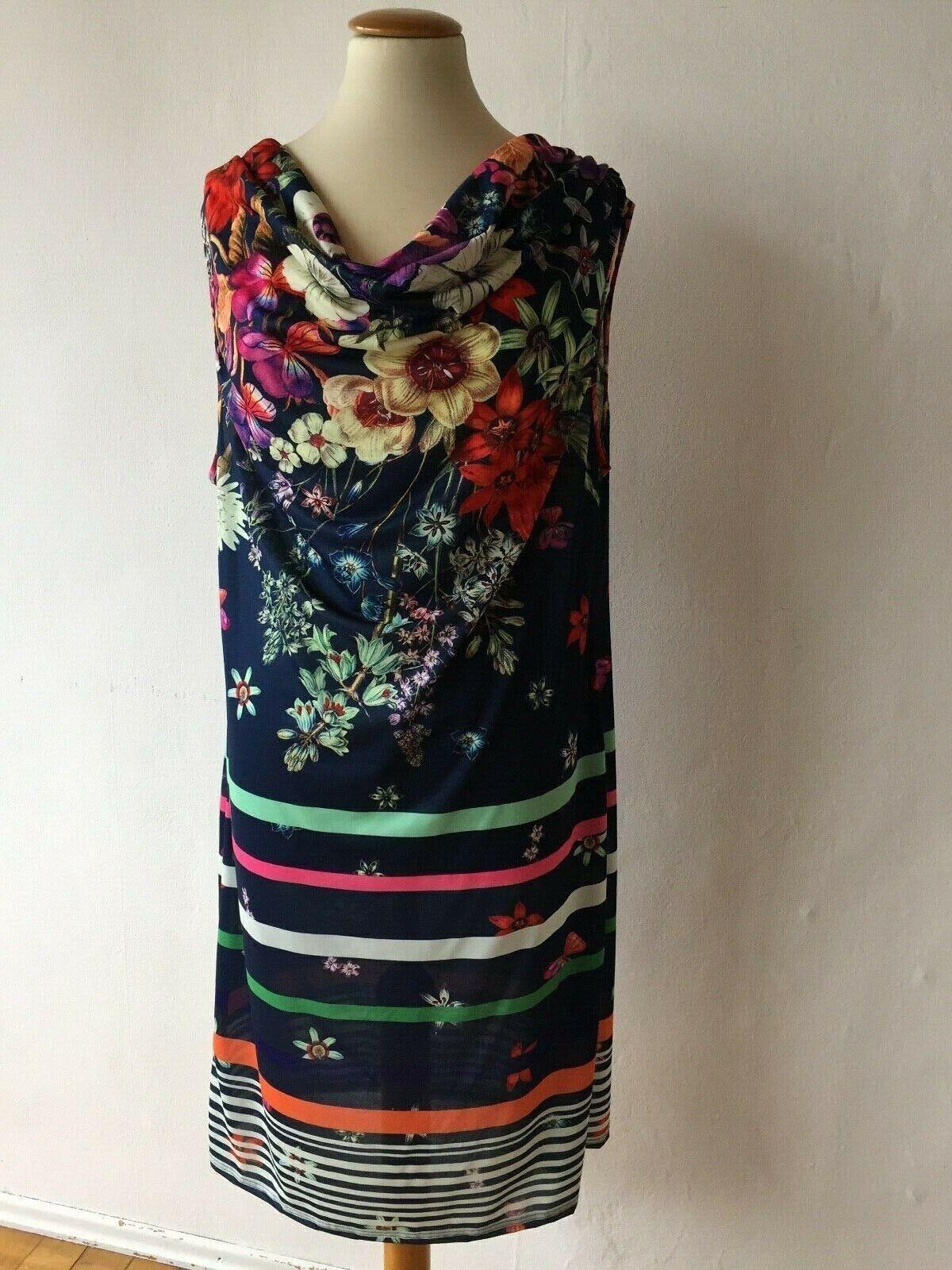 blaues, geblümtes, leichtes Kleid mit Wasserfallausschnitt, Sunflair, Gr.42 , D