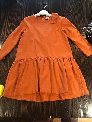 Il Gufi Size Six 6 Adorable Dress Orange Rust Color Bow *Free Shipping* Hi Low