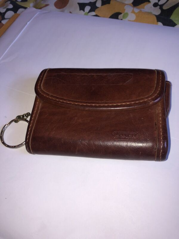 Vintage Coach Small Brown Envelope Style Snap Lock Change Purse / Wallet