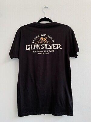 Quiksilver Logo Design Palm Trees Black T-Shirt Large New