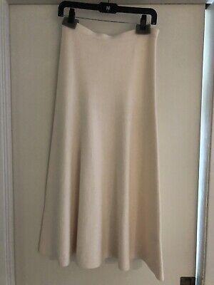 Gabriela Hearst Ivory Cashmere Wool Knit Midi Skirt Size Small