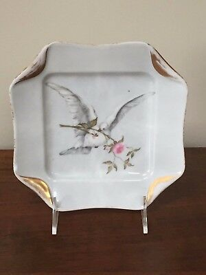 H & Co Haviland Limoges Hand-Painted Dove Napkin Fold Plate c. 1884  - Napkin Fold