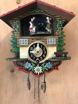 Signed Vintage Engstler German Mini Cuckoo Clock Dancing Couples, TESTED WORKS!