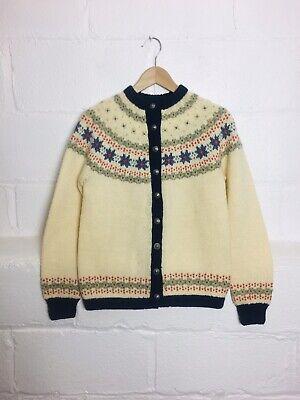 Vintage Foldal A/S AALESUND NORWAY Nordic Fairisle Handknit Sweater Cardigan