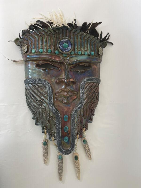 Raku Pottery tribal mask signed
