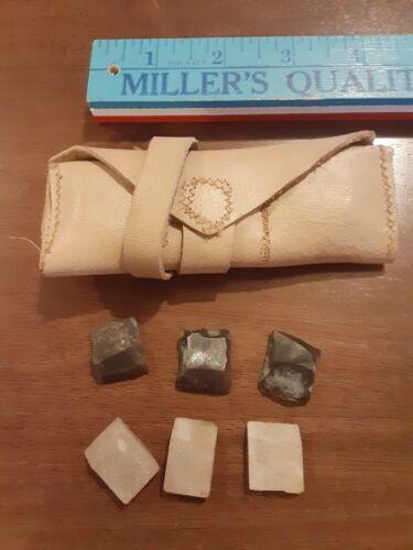 Leather Flint Wallet/Pouch w/6 flints for Flintlock Musket