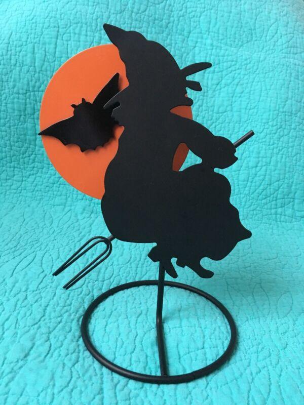 3D Halloween Metal Flying Witch Silhouette W/Orange Moon Tea Light Holder