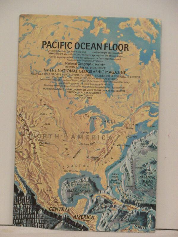 Vintage 1969 National Geographic Map of Pacific Ocean Floor