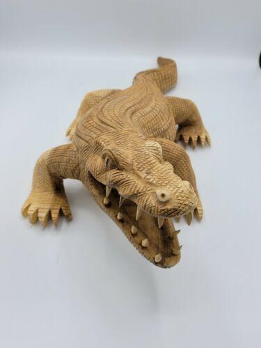 Teakholz Krokodil Deko handgefertigt Holz hellbraun 55 cm