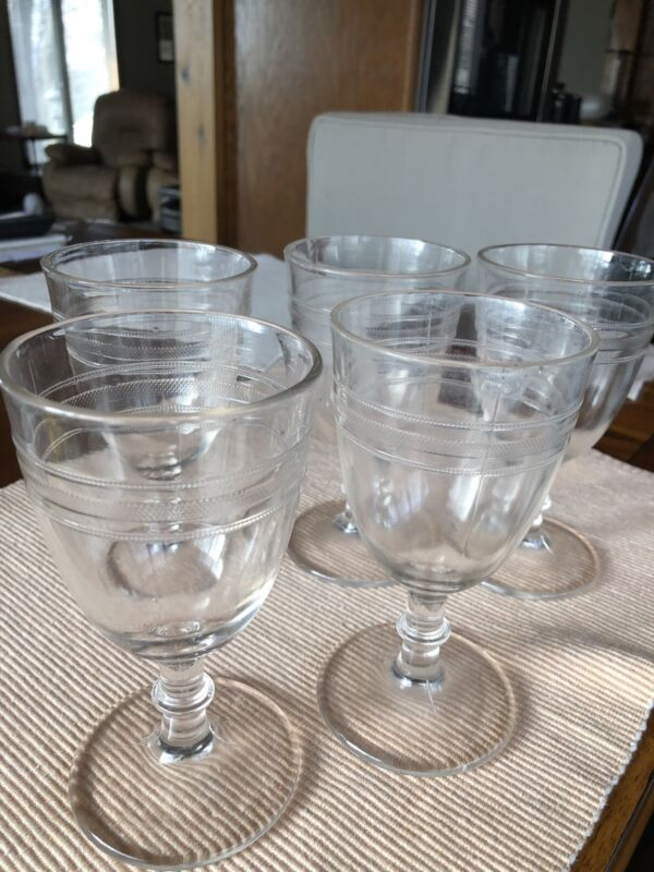 Vintage pressed glass water goblets