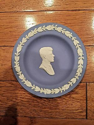 Wedgwood Jasperware John F Kennedy Small Blue & White Plate Collectiable Dish