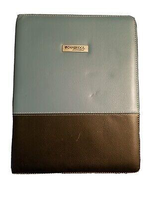 Cambridge Portfolio Binder Blueblack Faux Leather Zipper Closure Pockets