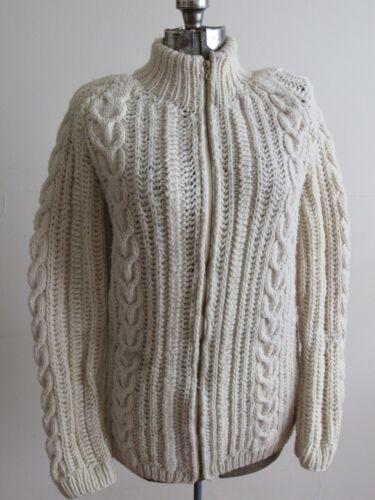 Vtg 50s 60s Womens Wool Cable Knit Full Zip Sweater Fisherman Irish Chunky !