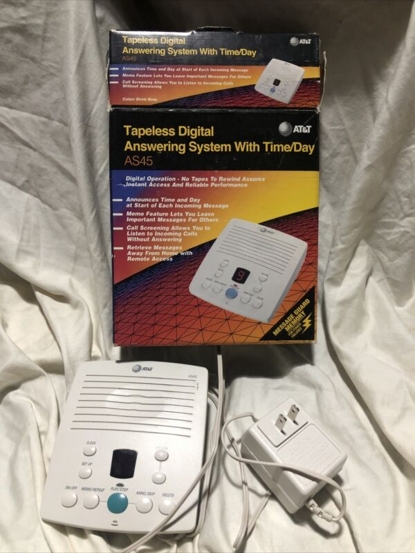 AT&T AS45 Tapeless Digital Answering Machine +Time Day