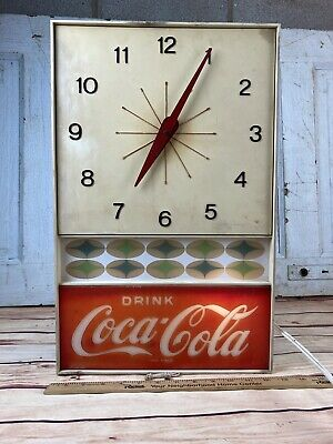 VINTAGE DRINK COCA COLA WALL CLOCK ELECTRIC LIGHTED ATOMIC USA Neon Prod Inc.