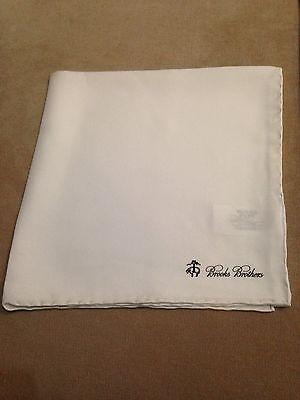 BROOKS BROTHERS Pocket Square Pochette Handkerchief 100% Silk Brand New White