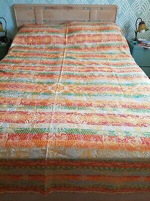 Gorgeous 1960's Orange Floral Vintage Retro Boho Sateen Double Bedspread Throw