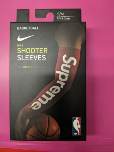New 17FW Supreme Shooting Sleeve Collab Black and Red L/XL S/M with box