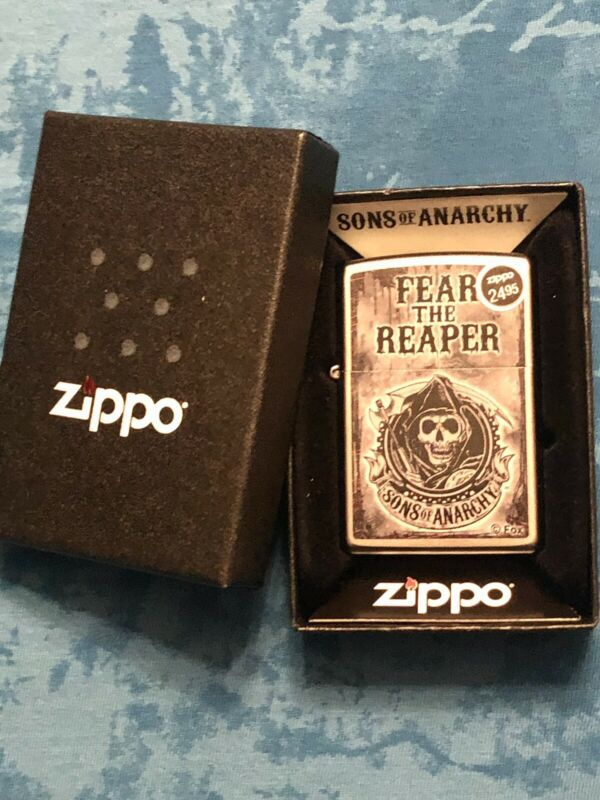 Zippo Satin Chrome Sons Of Anarchy Fear The Reaper Windproof Lighter Unfired