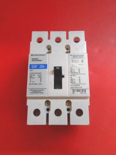 AUTOMATION DIRECT G3P 22 K CIRCUIT BREAKER 480V 3P - RECON/TESTED gd eaton 80 a
