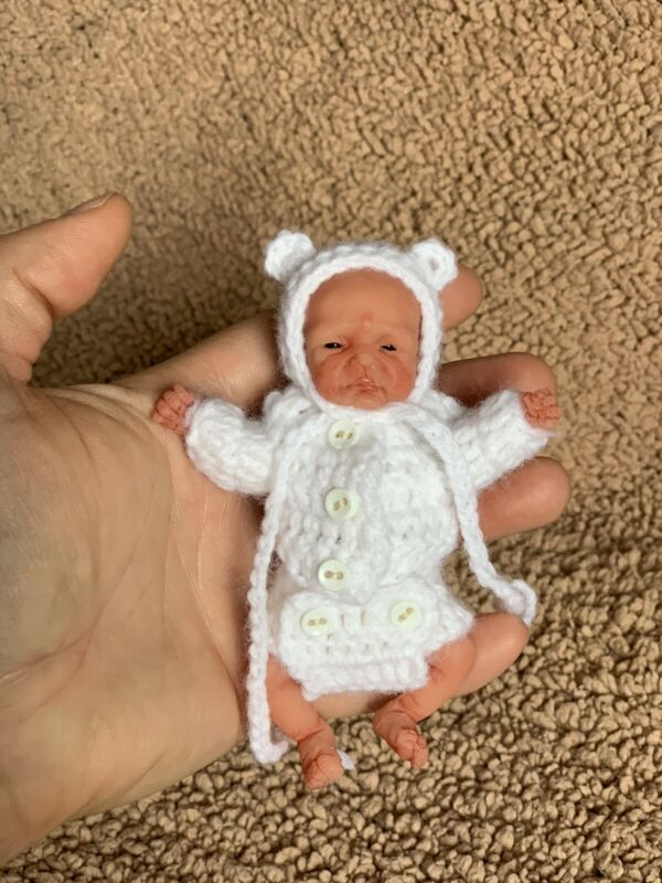 Handmade Crochet Outfit For 3-4 Inch Mini Ooak Preemie Reborn Silicone Baby Doll