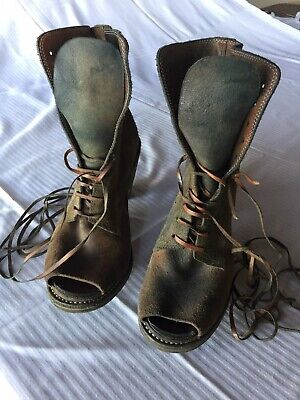 GUIDI OPEN TOE LEATHER ANKLE BOOT LACE FRONT 37.5/7