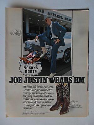 1976 Print Ad Nocona Western Cowboy Boots ~ H. Joe Justin Wears 'Em