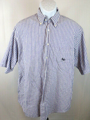 Nautica Mens Large Blue Striped Short Sleeve Button Down Casual Shirt A41