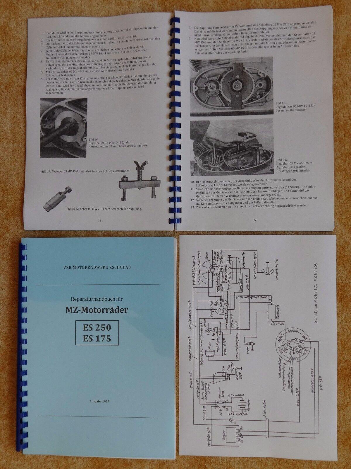 Reparaturhandbuch Reparaturanleitung MZ Motorräder ES 125 150 schmaler Zylinder